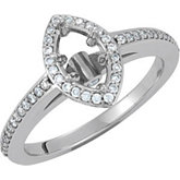 Halo-Styled Marquise-Shaped Engagement Ring or Matching Band