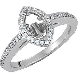 Diamond Halo-Styled Engagement Ring, Semi-Mount or Band