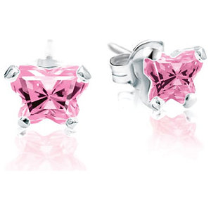 Sterling Silver October Bfly® AZ Birthstone Youth Earrings with Friction Backs and Box