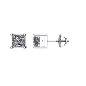 SI₁-SI₃ G-H Princess-Cut Diamond Threaded Post Stud Earrings