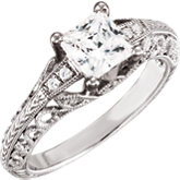 Diamond Semi-mount Scroll Design Engagement Ring or Band