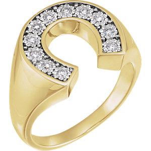 14K Yellow & White 1/4 CTW Diamond Men's Horseshoe Ring