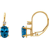 Oval 4-Prong Accented Lever Back Earrings