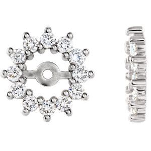 14K White 1/2 CTW Diamond Earring Jackets
