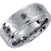 Dura Tungsten® Ridged Diamond Band with Bark Finish