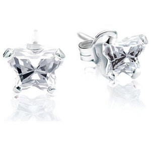 Sterling Silver April Bfly® AZ Birthstone Youth Earrings with Friction Backs and Box