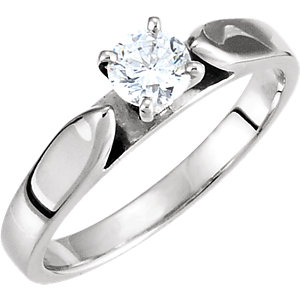 Round Solitaire Engagement Ring Mounting or Band