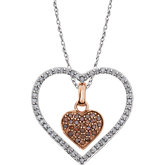 Diamond Cluster Heart  Necklace