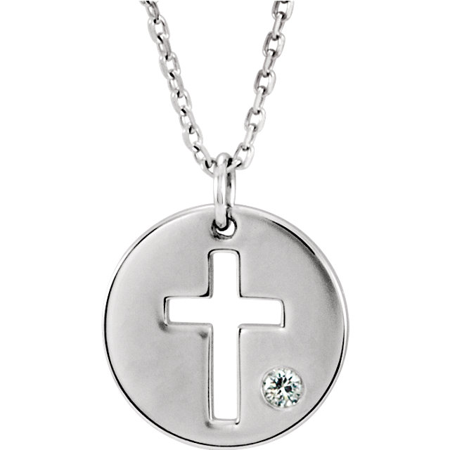 Sterling Silver Diamond Pierced Cross Disc Necklace