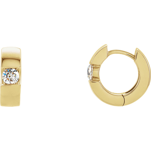 14K Yellow 1/2 CTW Diamond Hinged Earrings
