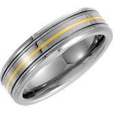 6.3mm Dura Tungsten® Grooved Band with 14kt Yellow Inlay