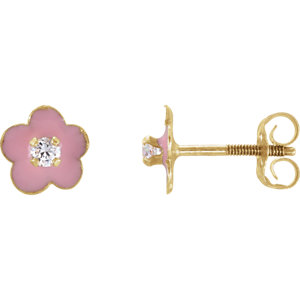 Youth Enamel Flower & Cubic Zirconia Earrings