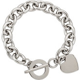 Amalfi™ Stainless Steel Link Bracelet with Heart Charm