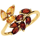Genuine Citrine & Mozambique Garnet Ring