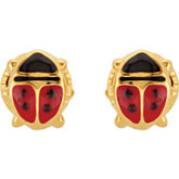Youth Ladybug Earrings with Safety Backs & Gift Box