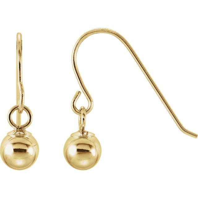 14K Yellow 15x4mm Youth Bishop Hook Ball Earrings