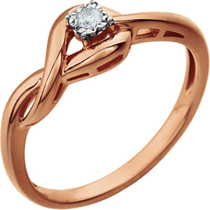 Sterling Silver and Rose Plated .04 CTW Diamond Promise Ring Size 7 Ref 650894
