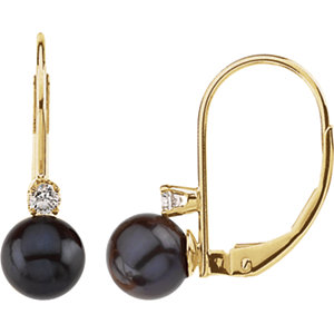 Akoya Aultured Pearl &<br> Diamond Lever Back<br> Earring