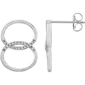 14K White .08 CTW Diamond Geometric Earrings