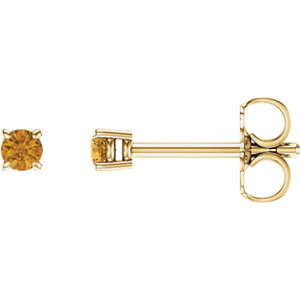 14kt Yellow  .5mm Round Aitrine Earrings