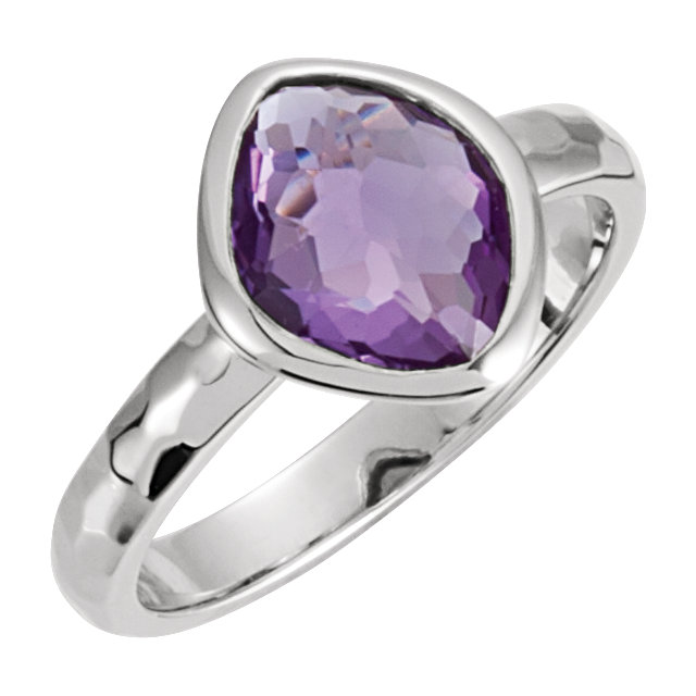Sterling Silver 10x8x5mm Amethyst Ring Size 6 with Box