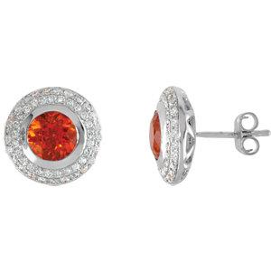 Bezel Set Button Earrings