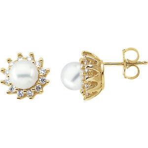 14kt Yellow Pearl & 1/A<br> ATW Diamond Earrings