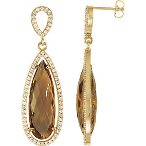 Gemstone & Diamond Halo-Styled Earrings or Mounting