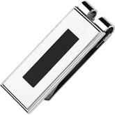 Stainless Steel Money Clip with Black Enamel