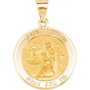 14kt Yellow 18.5mm Round Hollow St. Luke Medal
