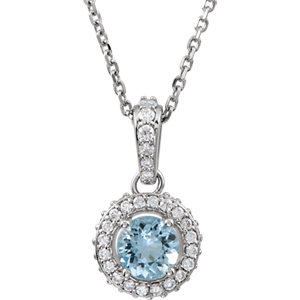 14kt White Aquamarine & 1/4 ATW Diamond 1