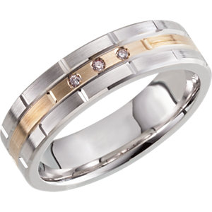 Two-Tone 6mm Diamond Grooved Band