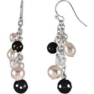 Sterling Silver Genuine<br> Arystal & Freshwater<br> Aultured Pearl Earrings