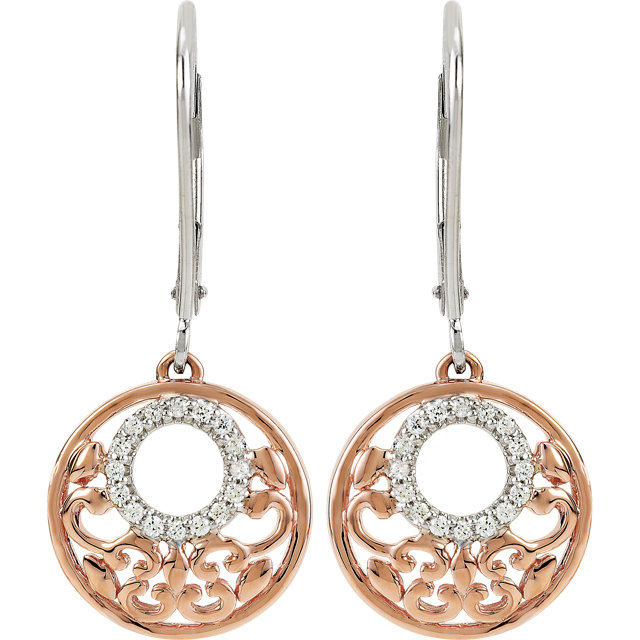Sterling Silver 14K Rose Plated 1/8 CTW Diamond Lever Back Earrings