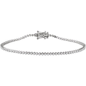 "14K White 9/10 CTW Diamond 7"" Line Bracelet"