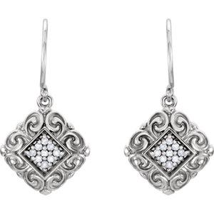 14kt White .1  ATW<br> Diamond<br> Sculptural-Inspired<br> Earrings