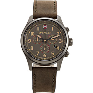 Wenger® Terragraph Gun Metal with Brown Leather Strap