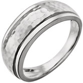 Hammered Ring with Beveled Edges