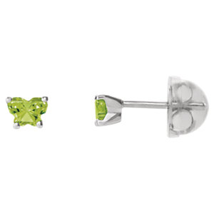 14kt White August Bfly®<br> AZ Birthstone Youth<br> Earrings with Safety<br> Backs & Box