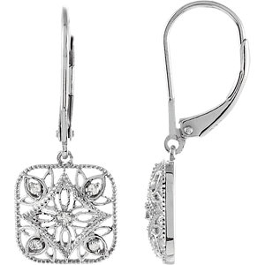 Diamond Accented Lever Back Earrings
