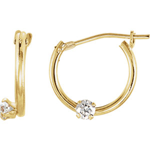 Youth Cubic Zirconia Hinged Hoop Earrings