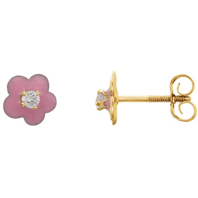 14K Yellow Youth Pink Enamel Flower & Cubic Zirconia Earrings