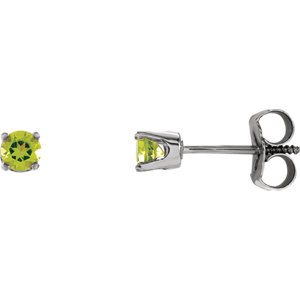 14K White Peridot Youth Earrings
