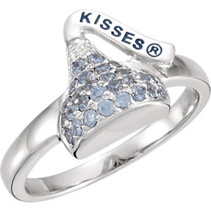Sterling Silver March<br> HERSHEYS KISSES Aubic<br> Zirconia Birthstone Ring