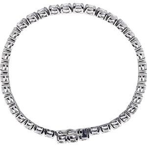 Sterling Silver 5mm Round Cubic Zirconia Bracelet