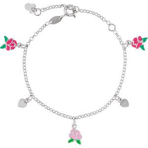 "Sterling Silver Belle Enamel Roses & Hearts 5.5-7.5"" Bracelet"