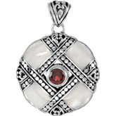 Genuine Mother of Pearl with Mozambique Garnet Pendant
