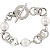 Amalfi™ Stainless Steel Circle Bracelet with Swarovski Pearl or Onyx Beads