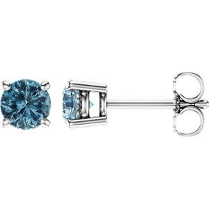 14kt White 5mm Round Sky<br> Blue Topaz Earrings