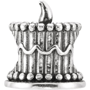 Sterling Silver 10.9x8.8mm Birthday Cake Bead